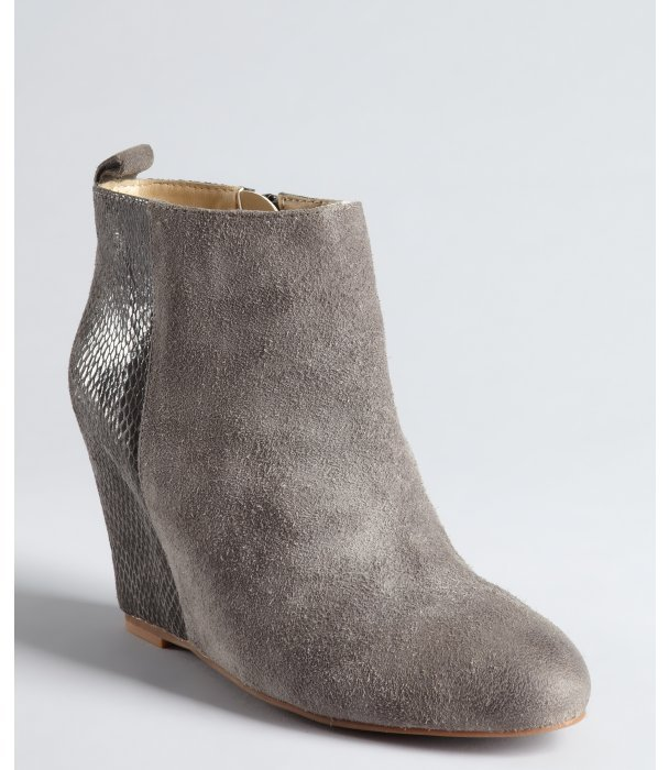 Matt Bernson grey suede and snake embossed leather 'Collette' hidden wedge ankle boots
