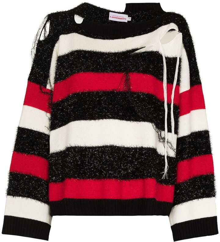 Thumbnail for your product : Charles Jeffrey Loverboy Slash Stripe distressed-finish jumper