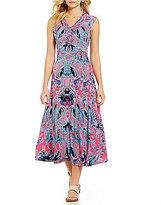 Allison Daley V-Neck Cap Sleeve Printed Fit & Flare Midi Dress