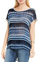 Vince Camuto Two by Short Sleeve Textured Skies Striped Mix Media Tee