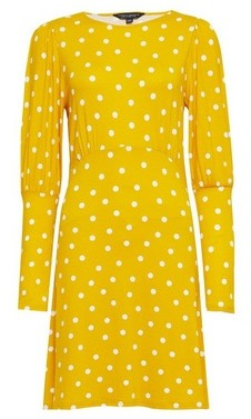 Dorothy Perkins Womens Ochre Spot Jersey Fit And Flare Dress