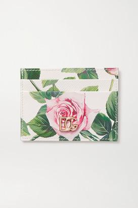 Dolce & Gabbana Floral-print Textured-leather Cardholder - Pink