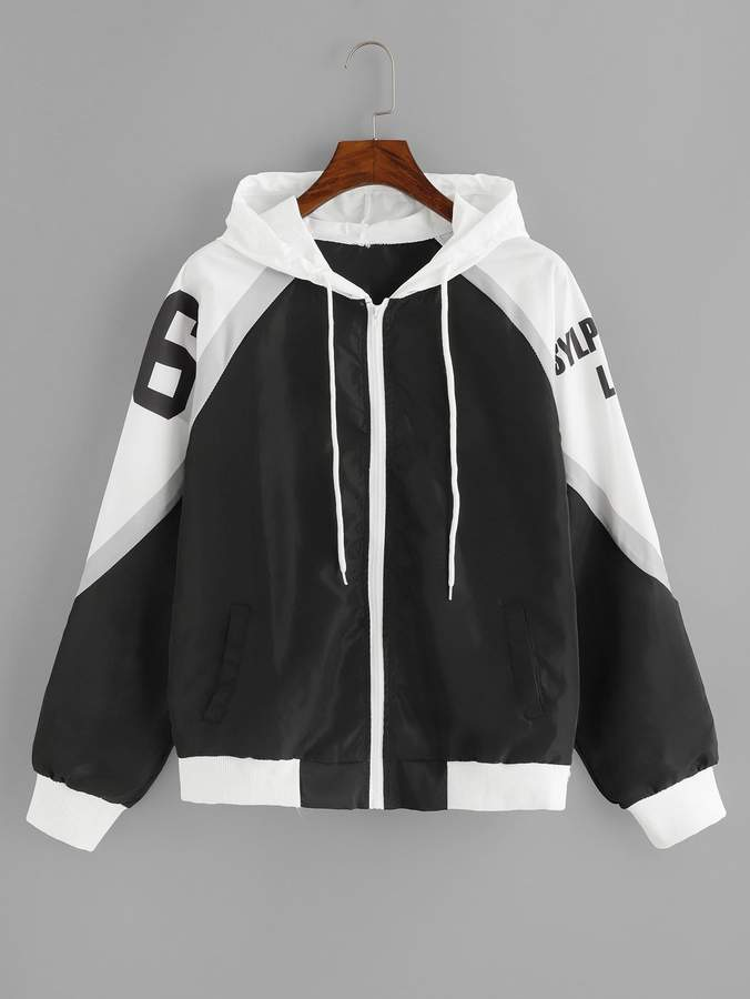 Contrast Letter Print Hooded Jacket