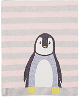 The Bonnie Mob Intarsia-Knit Penguin Cotton-Cashmere Blanket-PINK