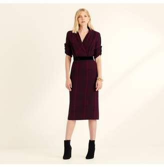 Amanda Wakeley Check Shawl Collar Shift Dress