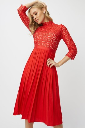 Little Mistress Alice Red 3/4 Sleeve Crochet Top Midi Dress With Pleated Skirt