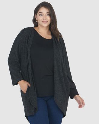 Advocado Plus - Women's Black Cardigans - Pleated Shoulder Cardigan - Size One Size, 14 at The Iconic