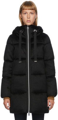Herno Black Down Woolfur Zip Up Coat
