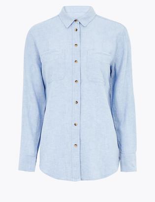 Marks and Spencer Linen Blend Relaxed Long Sleeve Shirt