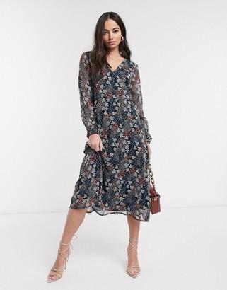 Ichi floral midi dress
