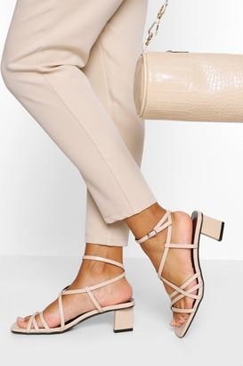 boohoo Strappy Low Block Heels