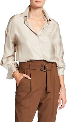 Brunello Cucinelli Monili-Collar-Inset Silk Button-Down Shirt