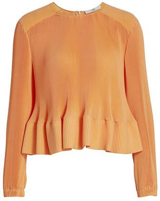 Tibi Pleated Peplum-Waist Top