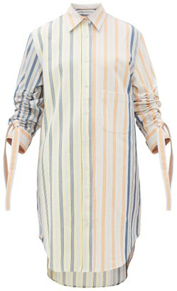 J.W.Anderson Gathered-sleeve Striped Cotton-drill Shirtdress - Womens - Multi