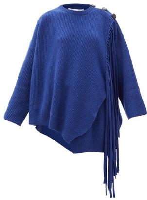 Stella McCartney Asymmetric Fringed Cashmere-blend Sweater - Blue
