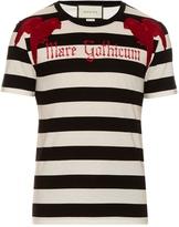 Gucci Parrot-appliqué striped cotton T-shirt
