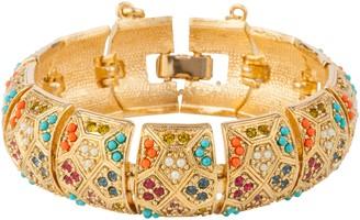 Susan Caplan Vintage D'Orlan 22ct Gold Plated Swarovski Crystal Statement Bracelet, Gold/Multi