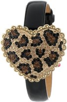 Betsey Johnson Women's BJ00201-01 Analog Pave Leopard Pattern Heart Cover Watch