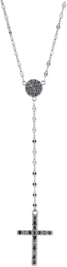 Lana Reckless Black Diamond Cross Lariat Necklace