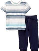 Splendid Slub Jersey Stripe Tee & Pant Set (Baby Boys)