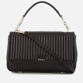 DKNY Women's Pinstripe Quilted Medium Flap Shoulder Bag - Black