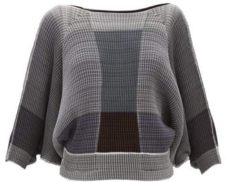 Issey Miyake Block Colour Pleated Blouse - Womens - Grey Multi
