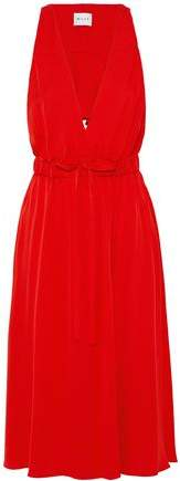 Milly Reese Cutout Ruffled Stretch-Silk Dress