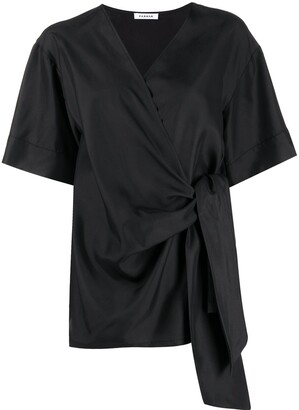 P.A.R.O.S.H. wraparound-style V-neck silk top