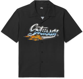 Stussy Camp Collar Logo-Print Cotton-Blend Shirt