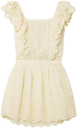 LoveShackFancy Dora Ruffled Broderie Anglaise Cotton Mini Dress