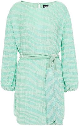 retrofete Velvet-trimmed Printed Sequined Chiffon Mini Dress