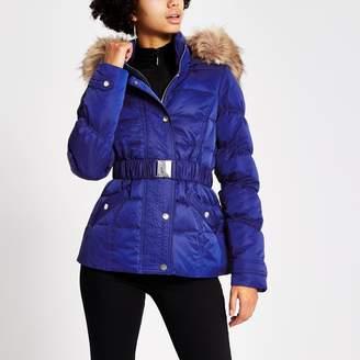 River Island Womens Blue padded faux fur hood belted jacket