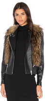 NOUR HAMMOUR Flashing Lights Jacket with Asiatic Raccoon Fur