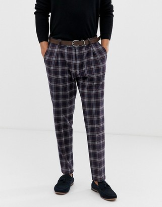 Benetton slim fit suit trouser with stretch in navy check print