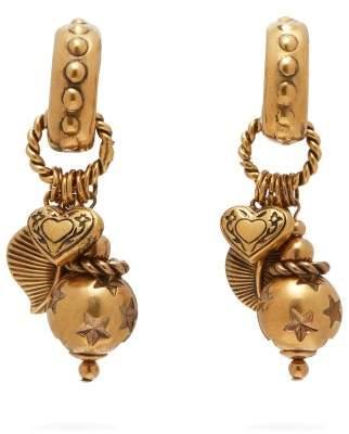 Etro Charm Drop Hoop Clip Earrings - Womens - Gold