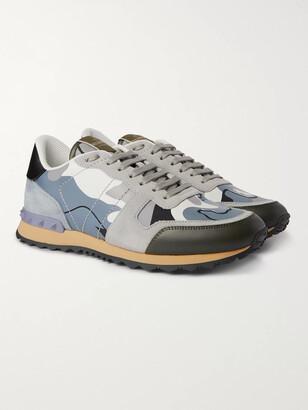 Valentino Garavani Rock Runner Suede, Leather and Canvas Sneakers - Men - Gray