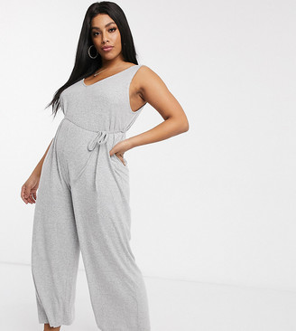 Asos DESIGN Curve lounge super soft jumpsuit with channelling