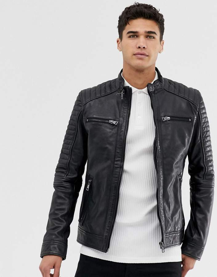44b1e21c256 Men Leather Jacket Asos - ShopStyle