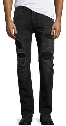 Helmut Lang Mr. 87 Slim-Fit Destroyed Jeans, Black