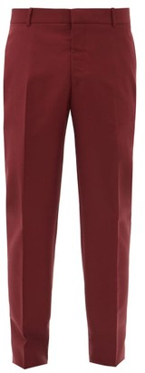 Alexander McQueen Slim-leg Wool-blend Trousers - Burgundy