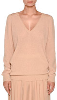 Agnona Lace-Yoke V-Neck Boucle Sweater, New Nude