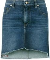 Saint Laurent asymmetric embroidered mini skirt - women - Cotton - 27