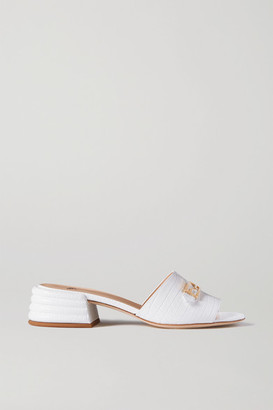 Fendi Promenade Croc-effect Leather Mules - White