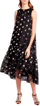 Erdem Sequin-Dotted Silk Chiffon Dress