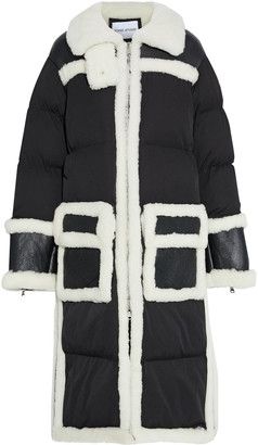 Stand Studio Abelina Oversized Shearling-paneled Quilted Shell Coat