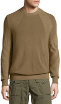 Belstaff Kallen Multi-Stitch Crewneck Sweater, Slate Green