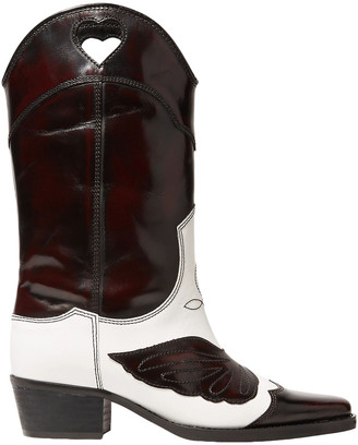 Ganni Two-tone Embroidered Leather Knee Boots