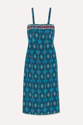 Figue Olatz Beaded Printed Crepe De Chine Midi Dress - Turquoise