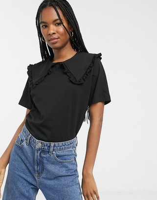 Monki short sleeve t-shirt with oversized collar in black