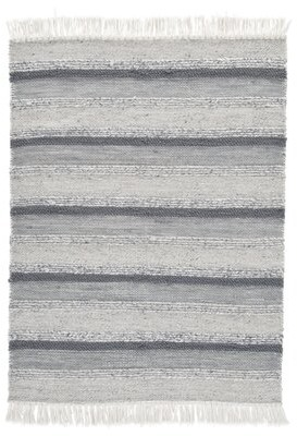 Gracie Oaks Kayne Striped Handmade Flatweave Gray Indoor / Outdoor Area Rug Rug Size: Rectangle 5' x 7'